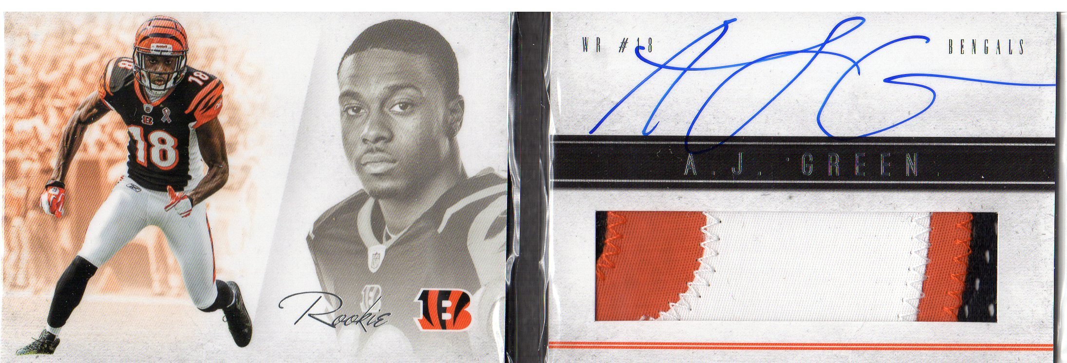 2011 Panini Playbook #101 A.J. Green JSY AU/299 RC