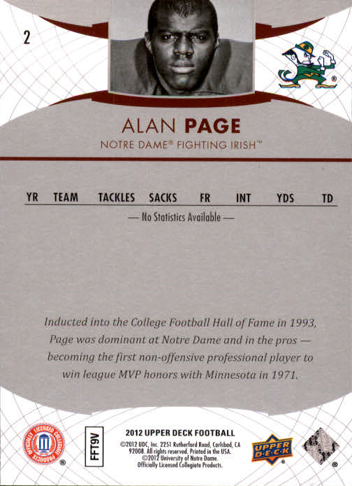 2012 Upper Deck #2 Alan Page back image
