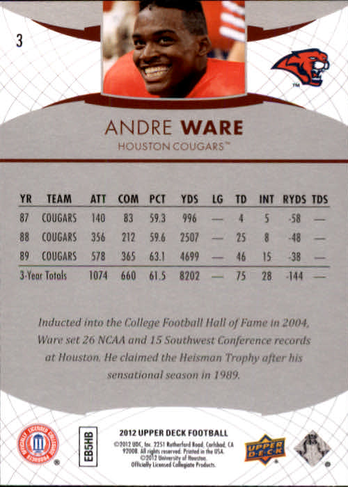 2012 Upper Deck #3 Andre Ware back image