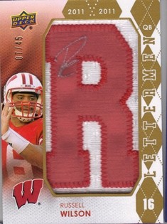 2012 Upper Deck Rookie Lettermen Autographs #RLRW Russell Wilson/315*/serial #'d to 45,/letters spell BADGERS