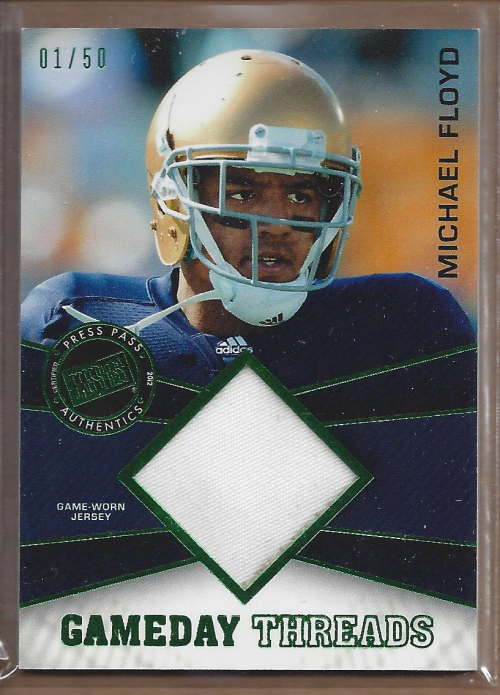 2012 Press Pass Showcase GameDay Threads Green #GDTMF Michael Floyd