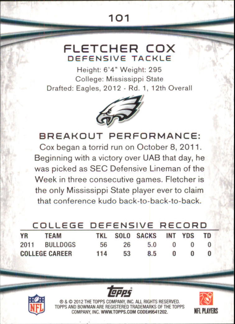 2012 Bowman Gold #101 Fletcher Cox back image