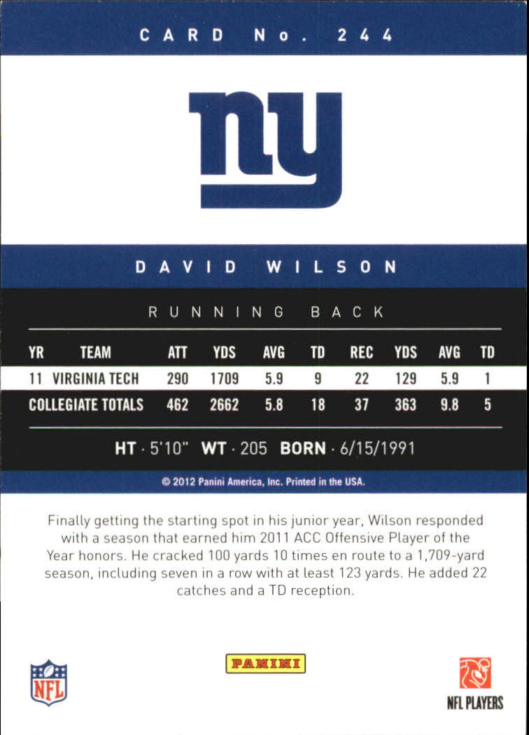 2012 Prestige Extra Points Gold #244 David Wilson back image