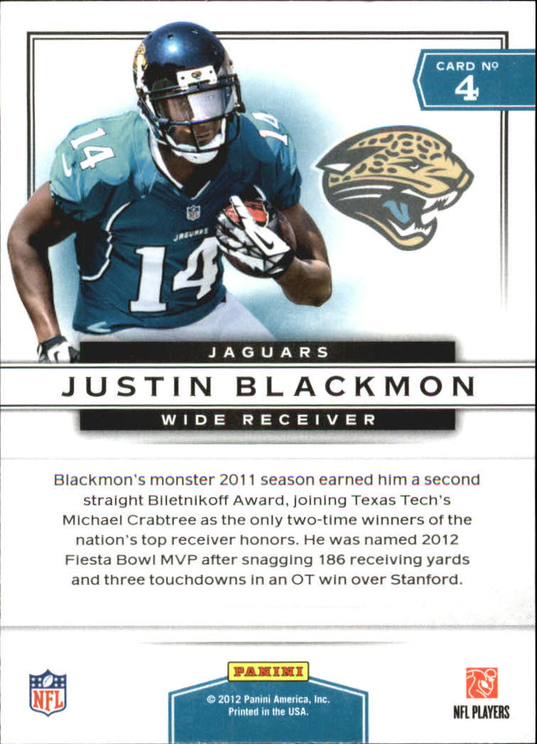2012 Prestige Prestigious Picks #4 Justin Blackmon back image