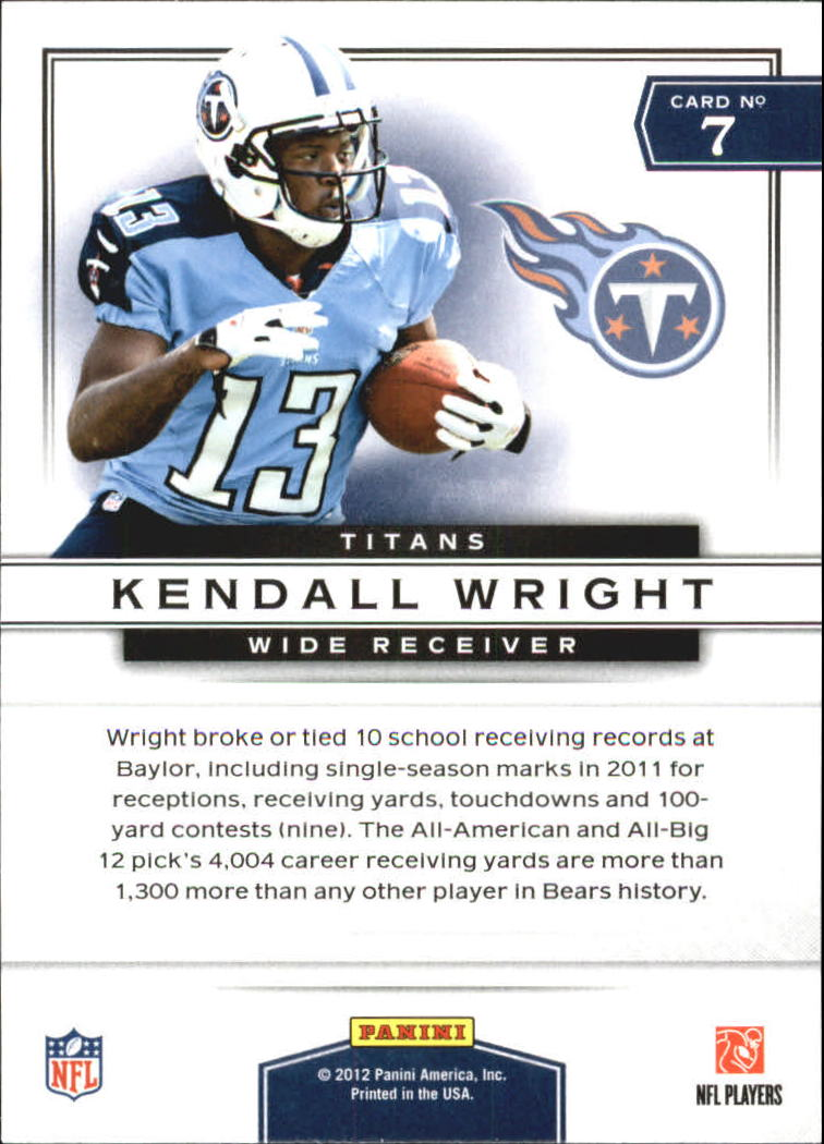 2012 Prestige Prestigious Picks #7 Kendall Wright back image