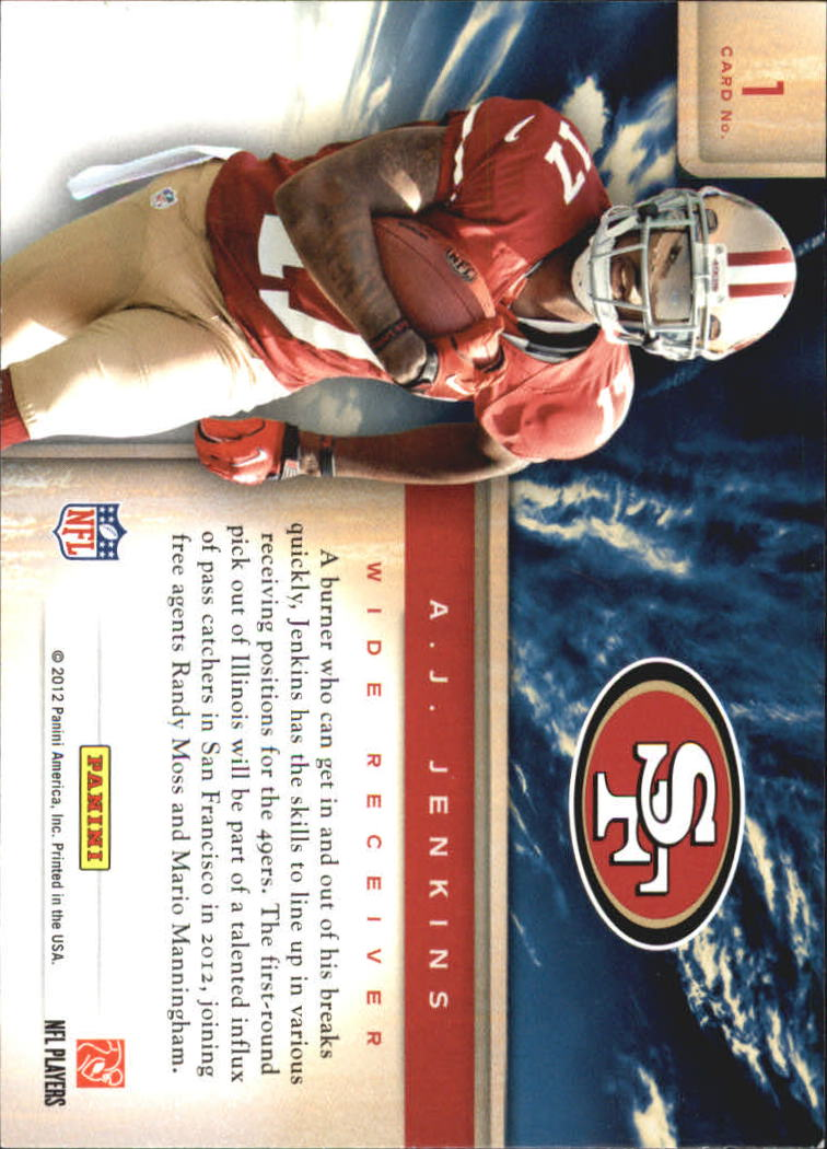2012 Prestige Draft City Destination #1 A.J. Jenkins back image