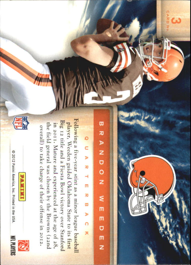 2012 Prestige Draft City Destination #3 Brandon Weeden back image