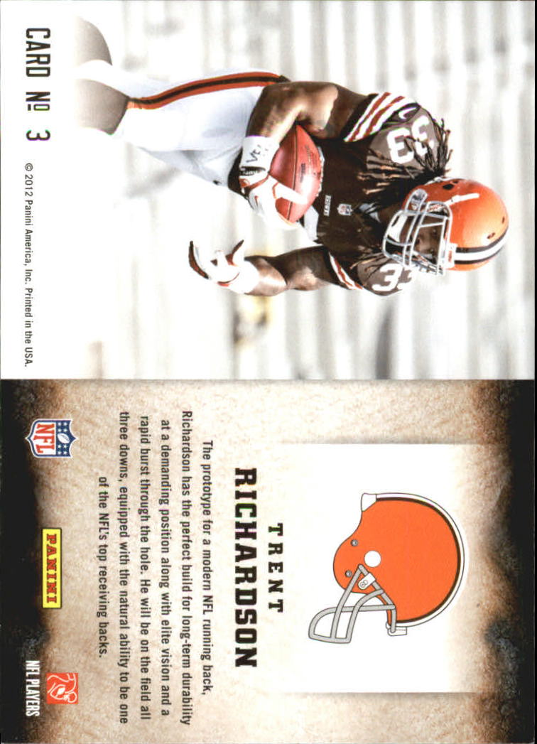 2012 Score Hot Rookies #3 Trent Richardson back image