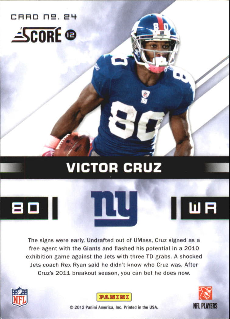 2012 Score In the Zone Glossy #24 Victor Cruz back image