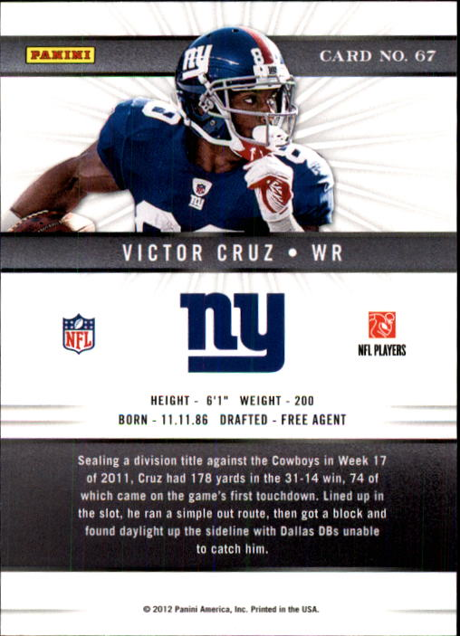 2012 Elite #67 Victor Cruz back image