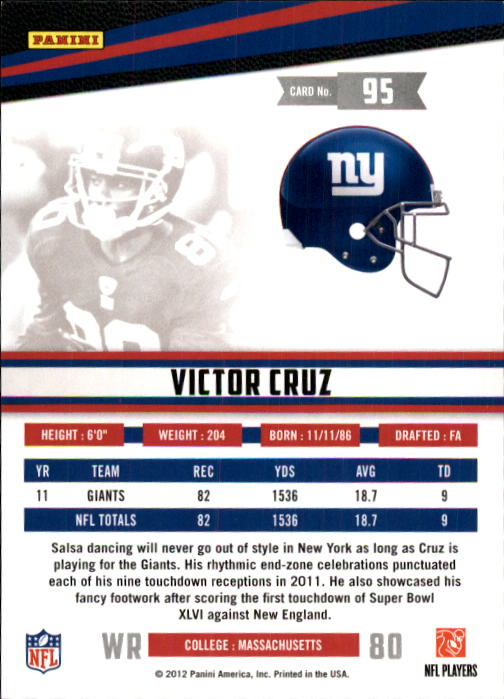 2012 Rookies and Stars #95 Victor Cruz back image