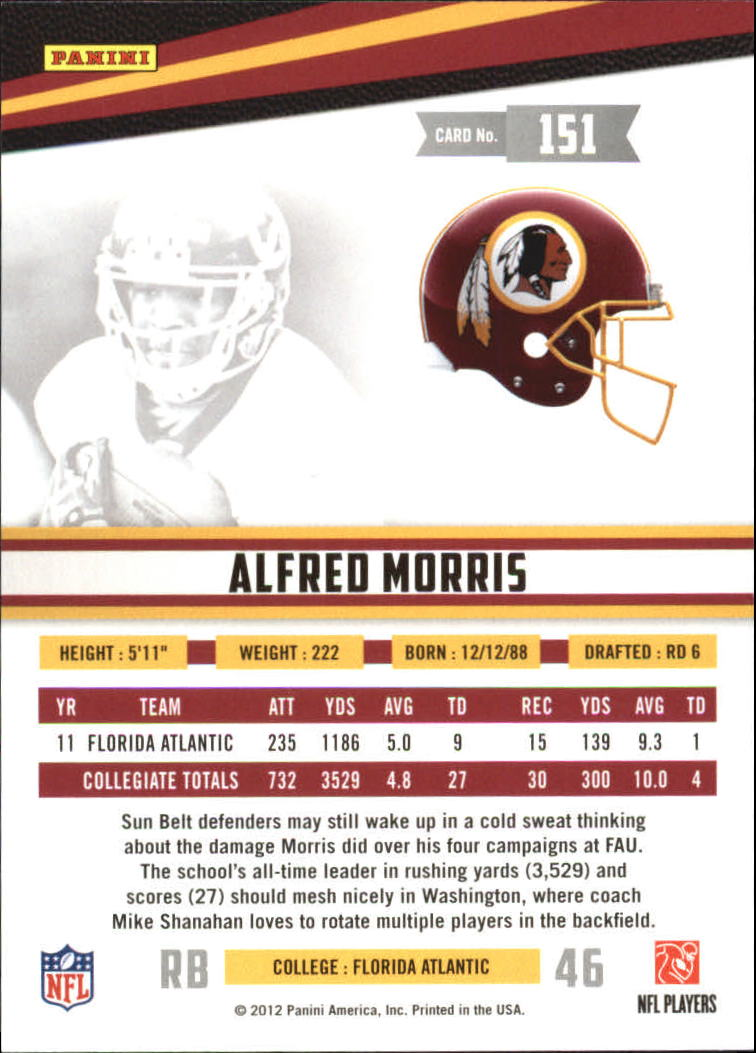 2012 Rookies and Stars #151 Alfred Morris RC back image