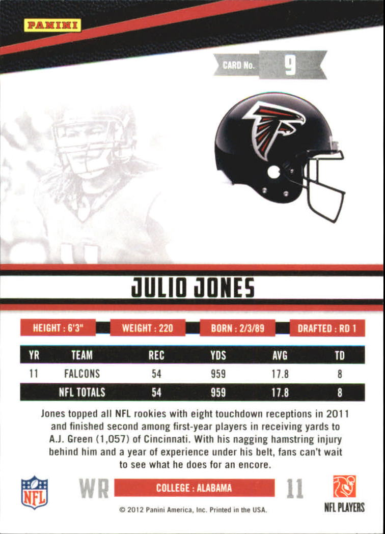 2012 Rookies and Stars True Blue #9 Julio Jones back image