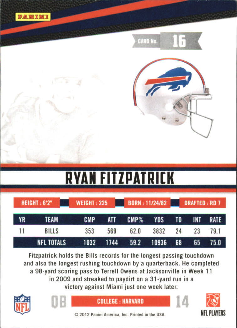 2012 Rookies and Stars True Blue #16 Ryan Fitzpatrick back image
