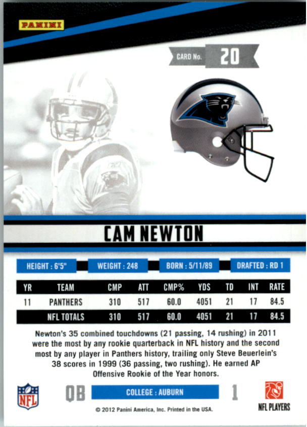 2012 Rookies and Stars True Blue #20 Cam Newton back image