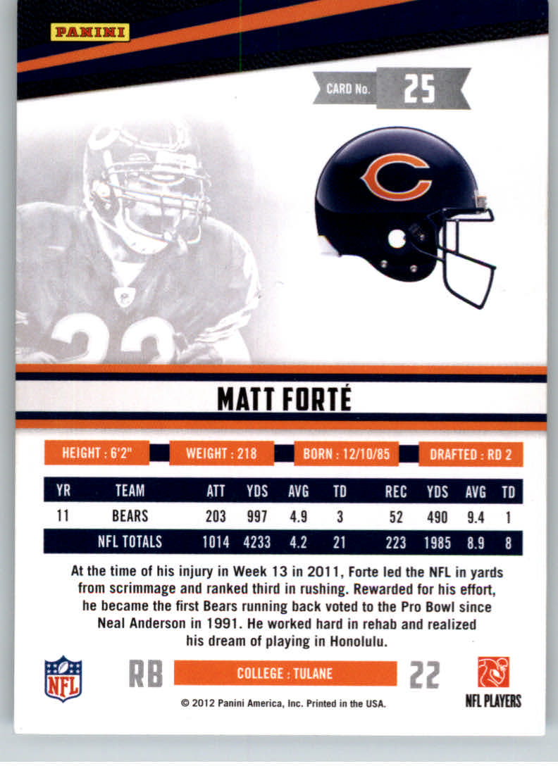 2012 Rookies and Stars True Blue #25 Matt Forte back image