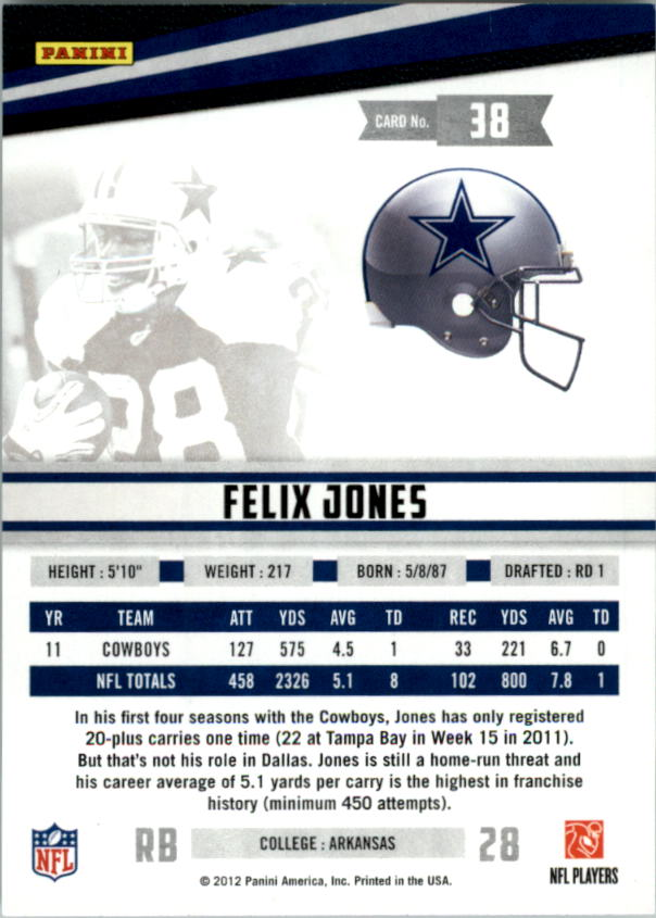 2012 Rookies and Stars True Blue #38 Felix Jones back image