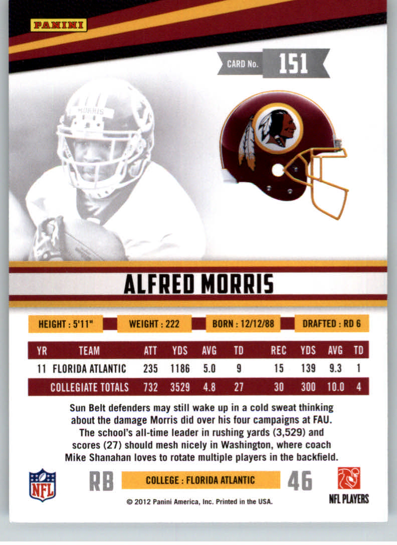 2012 Rookies and Stars True Blue #151 Alfred Morris back image
