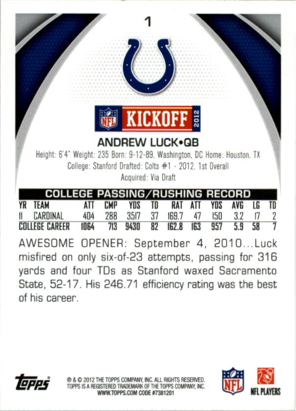 2012 Topps Kickoff #1 Andrew Luck back image