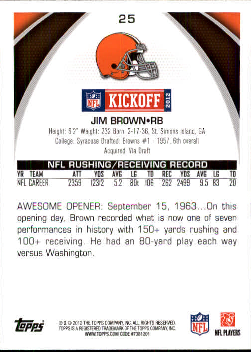 2012 Topps Kickoff #25 Jim Brown back image