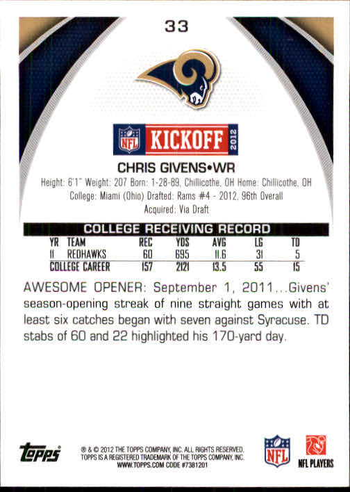 2012 Topps Kickoff #33 Chris Givens back image