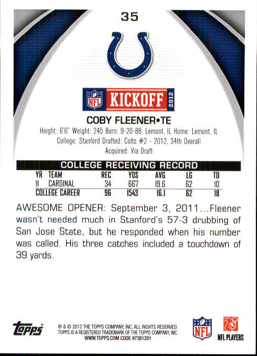 2012 Topps Kickoff #35 Coby Fleener back image