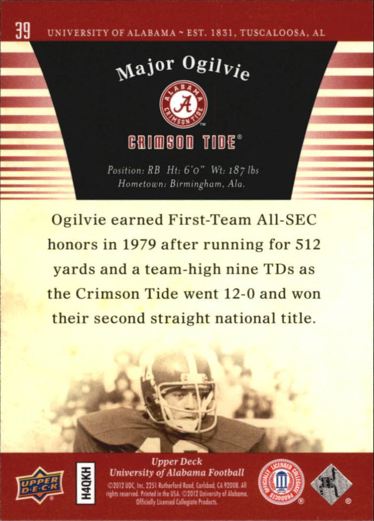 2012 Upper Deck Alabama #39 Major Ogilvie