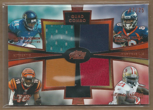 2012 Topps Prime Quad Combo Relics Copper #QCRBGTC Justin Blackmon/A.J. Green/Demaryius Thomas/Michael Crabtree UER/(pictures Frank Gore)