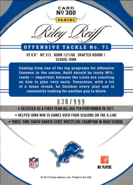 2012 Certified #300 Riley Reiff RC back image