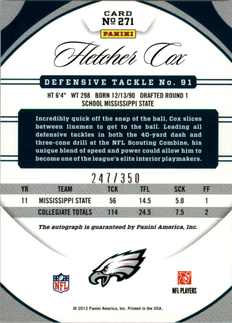 2012 Certified Mirror Red Signatures #271 Fletcher Cox/350 back image