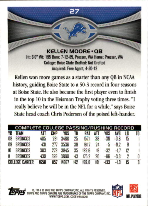 2012 Topps Chrome #27 Kellen Moore RC back image