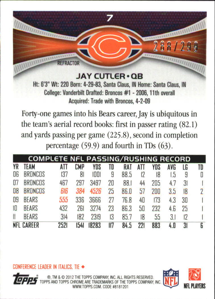 2012 Topps Chrome Black Refractors #7 Jay Cutler back image