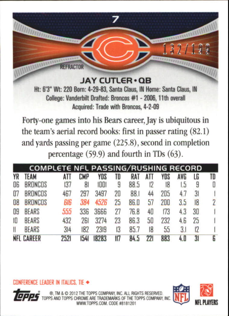 2012 Topps Chrome Blue Refractors #7 Jay Cutler back image