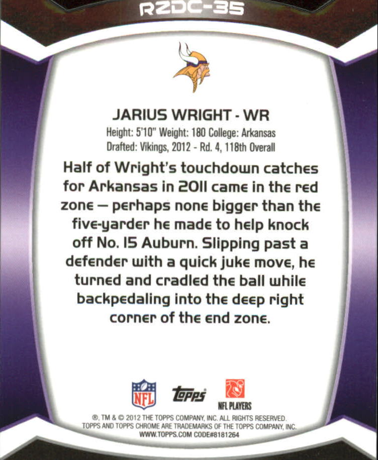 2012 Topps Chrome Red Zone Rookies Refractors #RZDC35 Jarius Wright back image