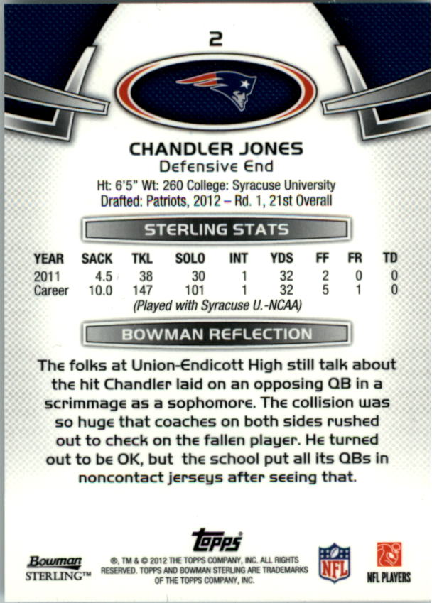 2012 Bowman Sterling #2 Chandler Jones RC back image