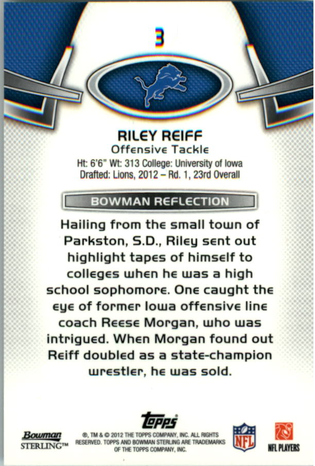 2012 Bowman Sterling #3 Riley Reiff RC back image