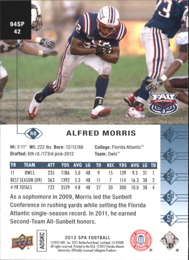 2012 SP Authentic 1994 SP #94SP42 Alfred Morris back image