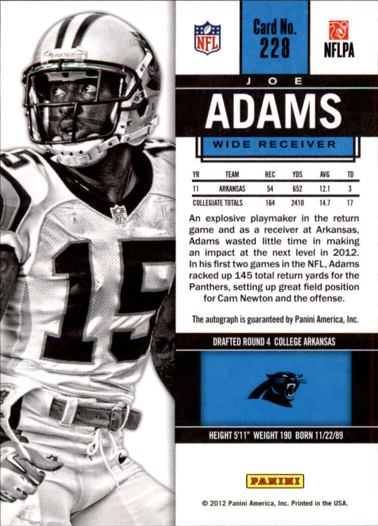 2012 Panini Contenders #228A Joe Adams AU RC/(white jersey)
