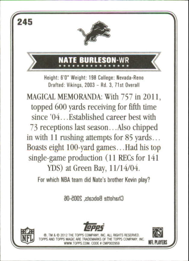 2012 Topps Magic Mini #245 Nate Burleson