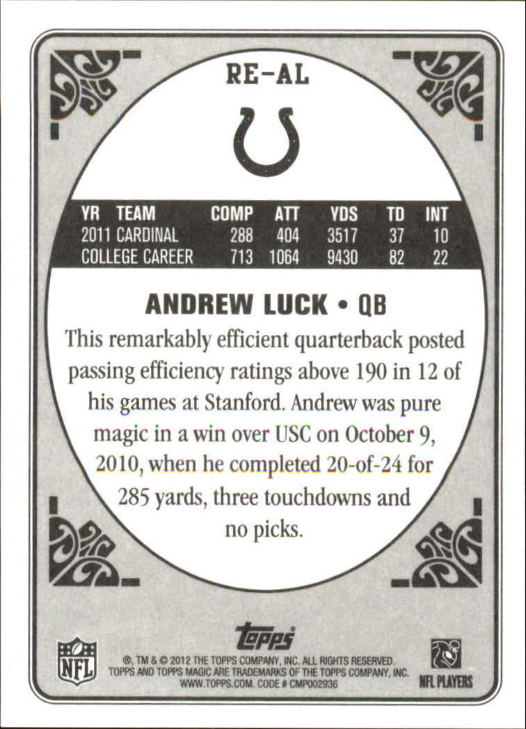 2012 Topps Magic Rookie Enchantment #REAL Andrew Luck back image