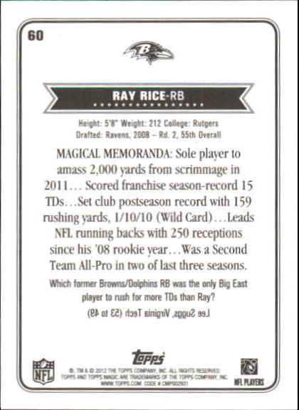 2012 Topps Magic Mini Blue Border #60 Ray Rice