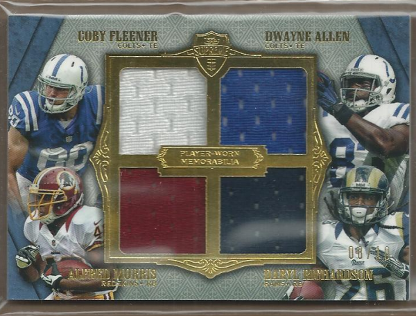 2012 Topps Supreme Rookie Relic Quad Combos Blue #SRQCFAMR Coby Fleener/Dwayne Allen/Alfred Morris/Daryl Richardson