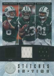 2012 Totally Certified Stitches in Time #52 Dustin Keller/199/Mark Sanchez/Shonn Greene