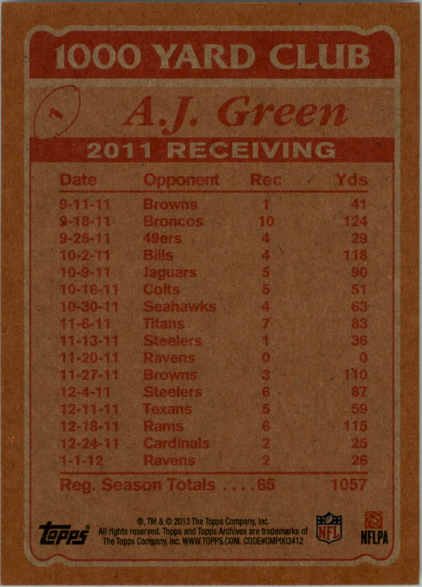 2013 Topps Archives 1000 Yard Club #1 A.J. Green back image