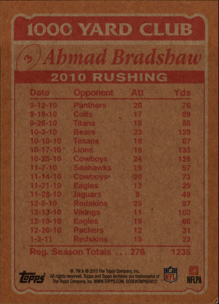 2013 Topps Archives 1000 Yard Club #3 Ahmad Bradshaw back image