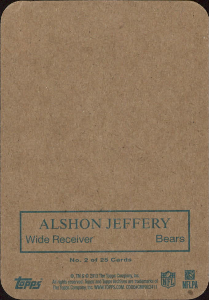 2013 Topps Archives 1970 Glossy #2 Alshon Jeffery back image