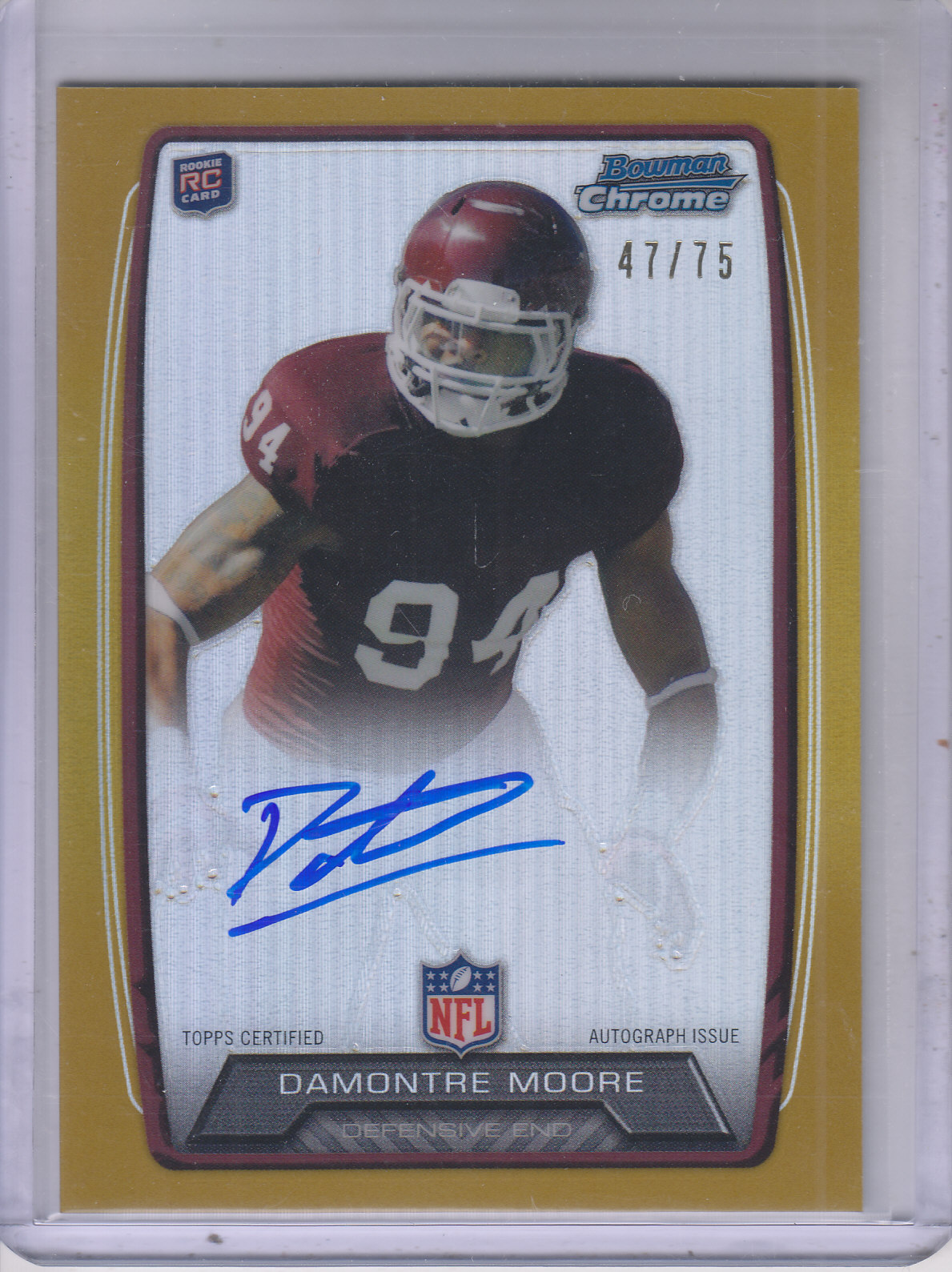 2013 Bowman Chrome Rookie Autographs Gold Refractors #RCRADM Damontre Moore
