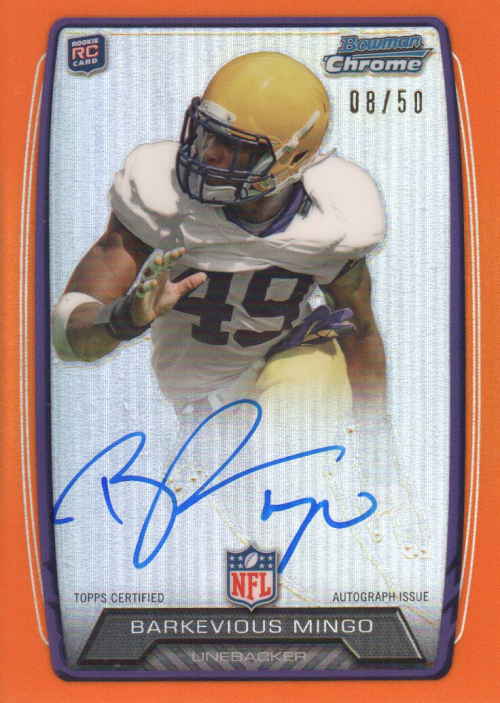 2013 Bowman Chrome Rookie Autographs Orange Refractors #RCRABM Barkevious Mingo