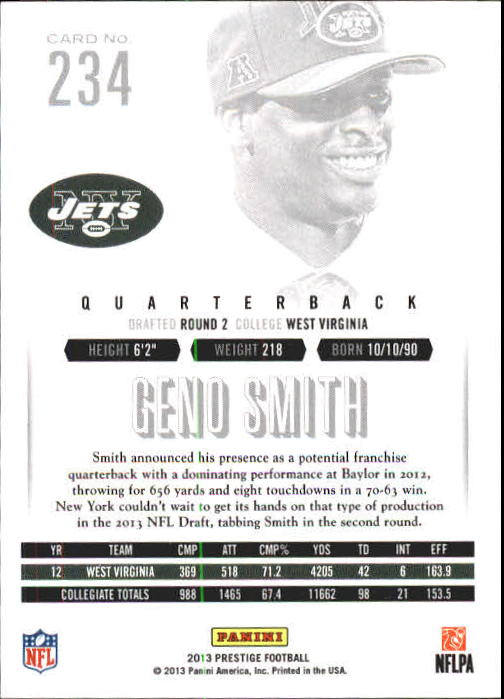 2013 Prestige #234A Geno Smith RC back image