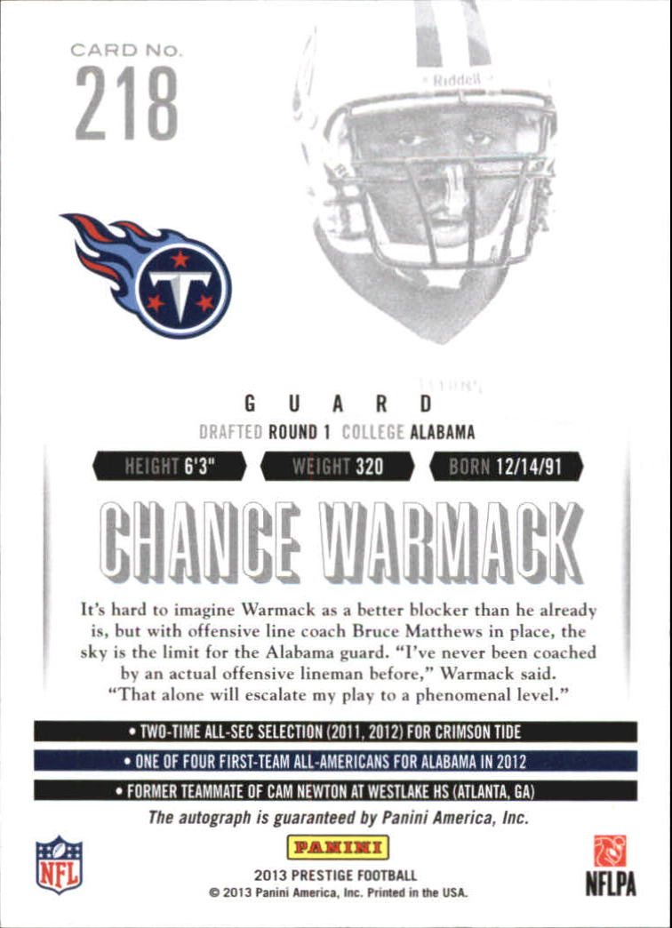 2013 Prestige Extra Points Red Autographs #218 Chance Warmack back image